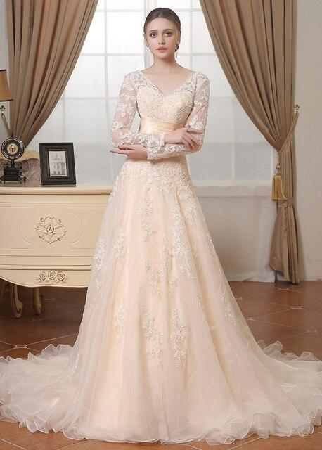 Vintage Beige Lace Organza Long Sleeves Modest Wedding Dresses Full Ons Back Vestidos De Novia