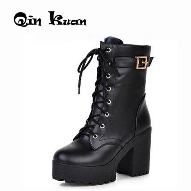 d558eea00 € 27.21  Loslandifen femmes talon carré Martin bottes dame ceinture boucle  cheville chaussures à lacets plate forme moto chevalier bottes grande ...