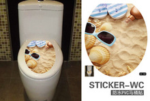 Home Toilet Pastes 3D Printed Flower Sticker WC Pedestal Pan Cover Toilet Stool Commode Home Decor