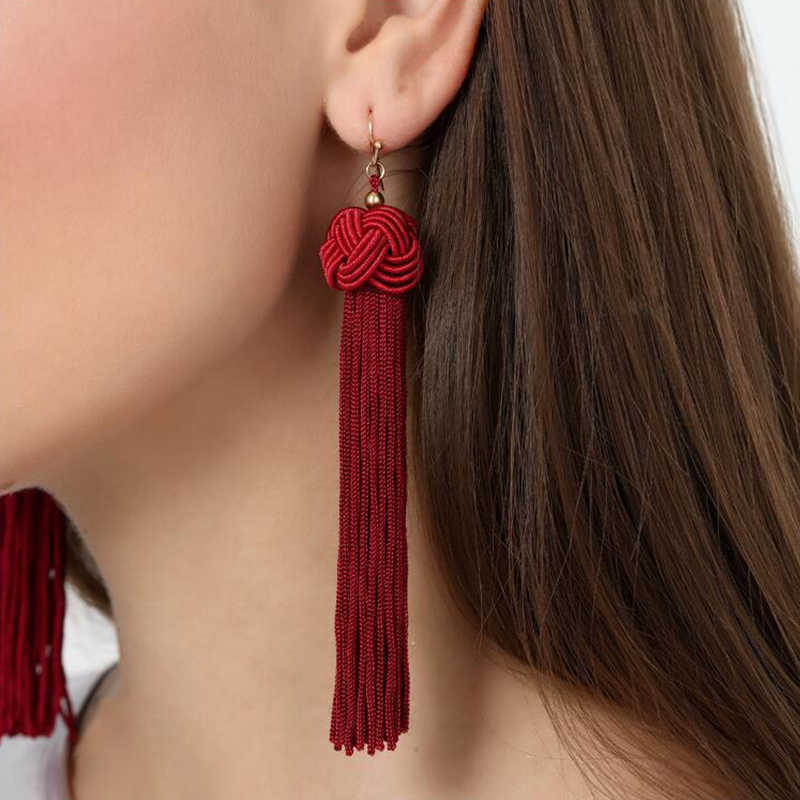 ES826 European New Fashion Earrings Bohemian Hand-woven Ball Long Tassel Earrings For Women Jewelry pendientes mujer moda 2018