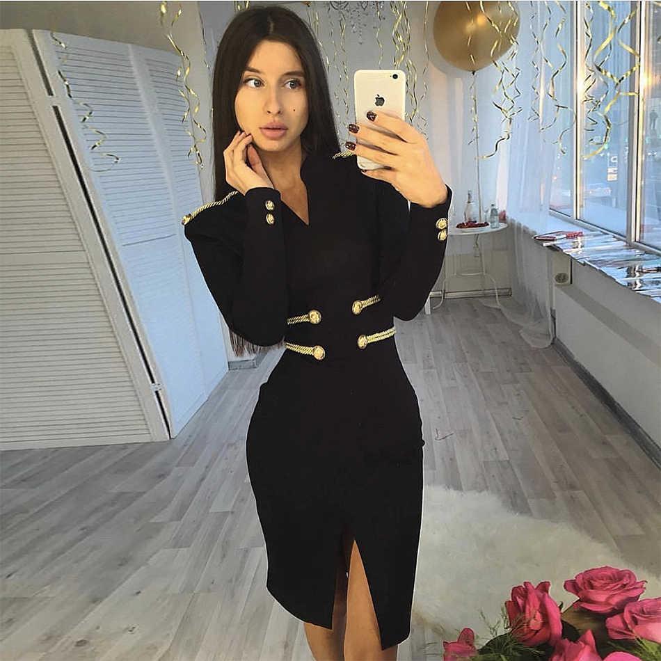 Новая модная обувь; выбор звезд вечерние облегающее Бандажное платье женский, черный с длинным рукавом и v-образным вырезом, сексуальное платье для ночного клуба Для женщин оптовая продажа, Vestidos
