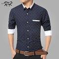 Марка Мужские Рубашки мужская Мода Горошек Рубашка Повседневная формальные Мужские Рубашки С Длинным Рукавом Плюс Размер 5XL camisa masculina homme