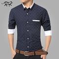 Camisas Dos Homens marca de Moda Polka Dot Vestido de Camisa Ocasional dos homens Formal Masculino camisa masculina de Manga Comprida Camisas Plus Size 5XL homme
