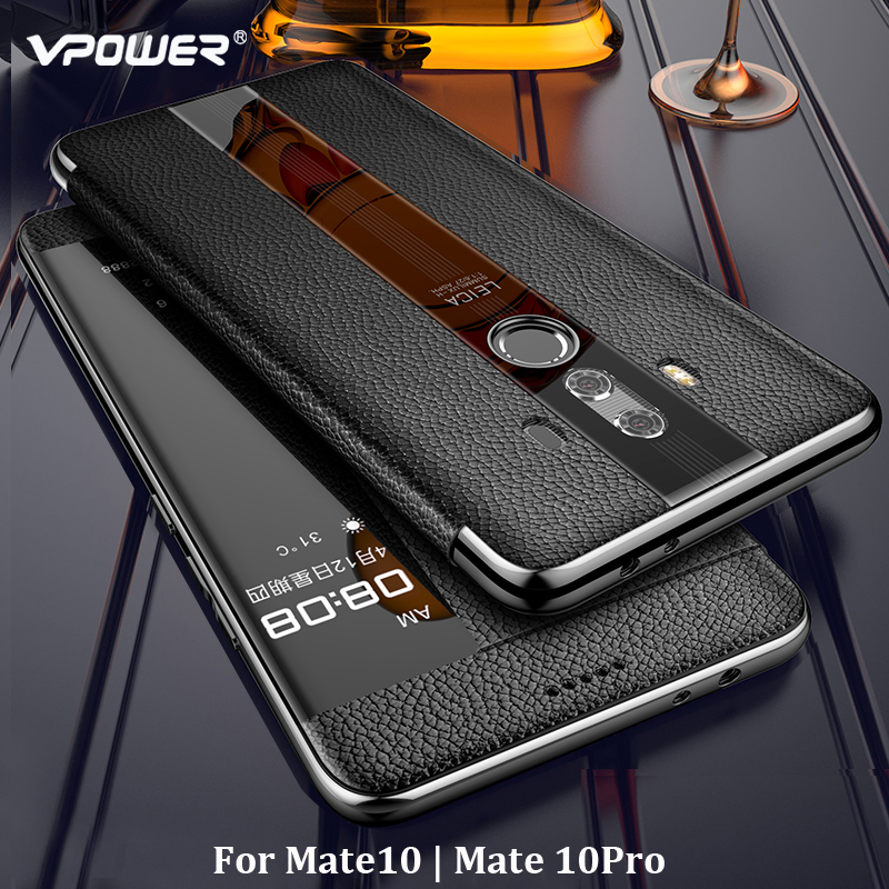 Image 2 - For Huawei Mate 10 Pro 9 pro Genuine leather case Phone protection windows view true flip leather case cover for huawei mate 10-in Flip Cases from Cellphones & Telecommunications