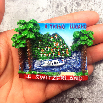 Switzerland Yicino Lugano Hand-painted Refrigerator Magnetic Sticker Tourist Souvenir Decorative Resin Fridge Magnet Craft