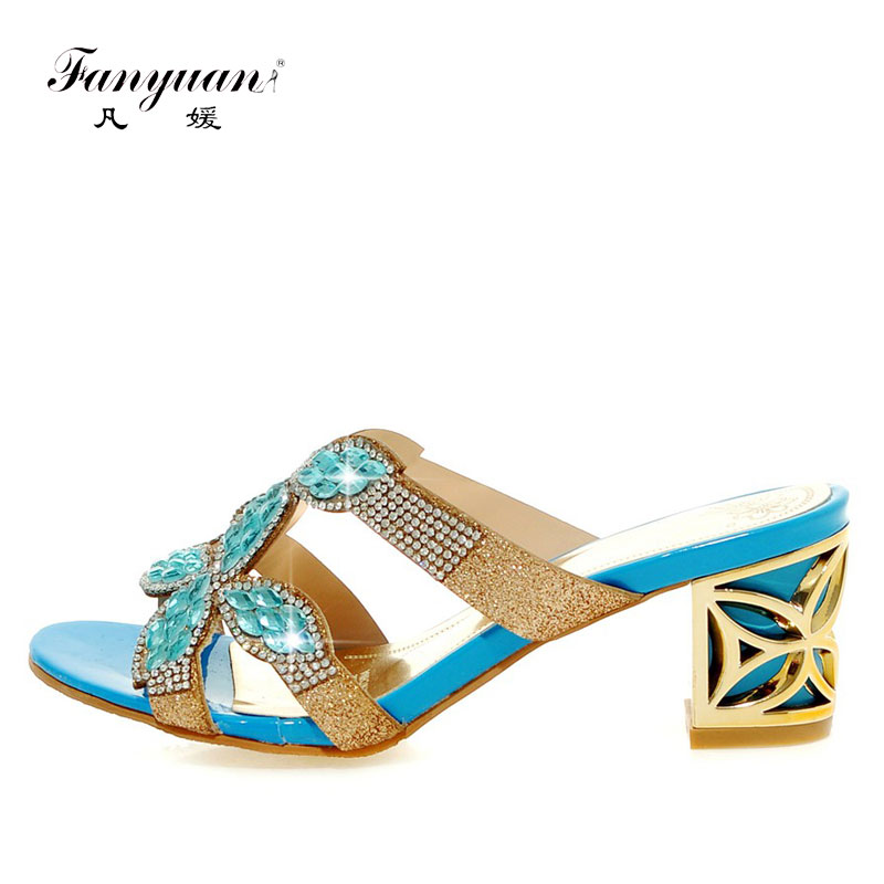 9b35bde9c Fanyuan 2018 Summer Beach Ladies Slides Rhinestones Women's Slippers Peep  toe Female's heel shoes Chunky heel