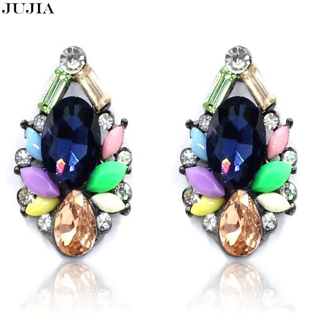 Rhinestone stud crystal charm earring 5 colors chic vintage natural stone gems piercing accessories jewelry earrings for women