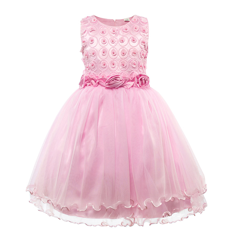 Kids Girls Party Dress Baby Princess Rose Flower Summer Prom Dresses Children Girl Sleeveless Pink Ball Gowns for 4-13 Years baby girls summer cotton princess top quality kids sleeveless dress children wedding party clothes girl christmas prom dress