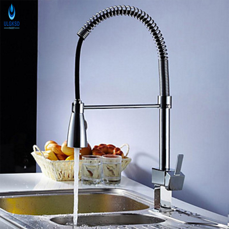 ULGKSD Kitchen Faucet Chrome Spring Style Solid Copper Sprayer Head Swivel Spout Kitchen Sink Faucet Hot and Cold Mixer Taps led spout swivel spout kitchen faucet vessel sink mixer tap chrome finish solid brass free shipping hot sale