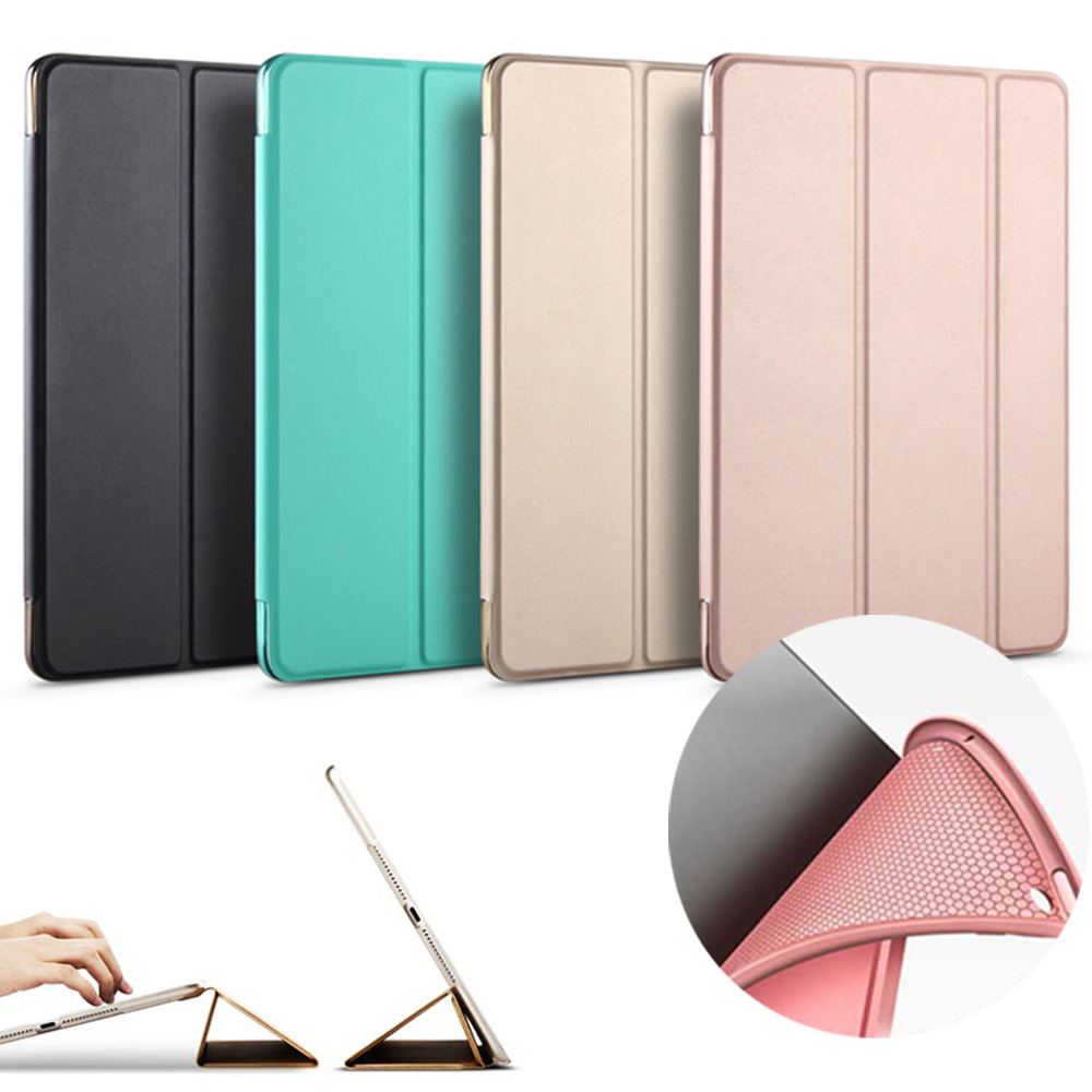 Fall für Neue iPad 9,7 zoll 2017 2018 Release modell A1822 MATERIAL A1823 A1893, weiche silikon unten + Pu-leder Smart Cover Auto Schlaf