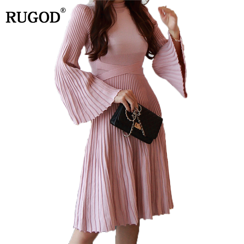 RUGOD 2018 New Arrival Spring Summer Elegant Women Dress O neck Female Dress Flare Sleeve Knitted Party Dress Casual Femme Robe женское платье summer dress 2015cute o women dress