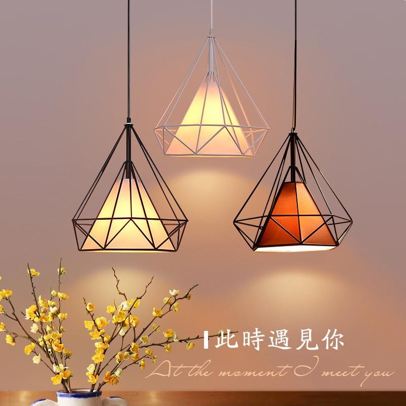 Modern led pendant light nordic birdcage diamond home decoration indoor lamp fabric lampshade dining room cafe bar restaurant