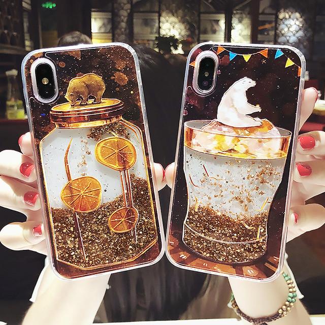 Luxury Heart Hard Ice Cream Dream Dynamic Liquid Quicksand Phone Cases