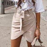 Affogatoo Высокая талия замша юбки 2018 осенне-зимний пояс с рюшами облегающая юбка Для женщин Асимметричные короткие юбки для женщин