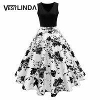 VESTLINDA Vintage Print A Line High Waisted Dress Summer Women Retro 50s 60s Dresses Elegant Party
