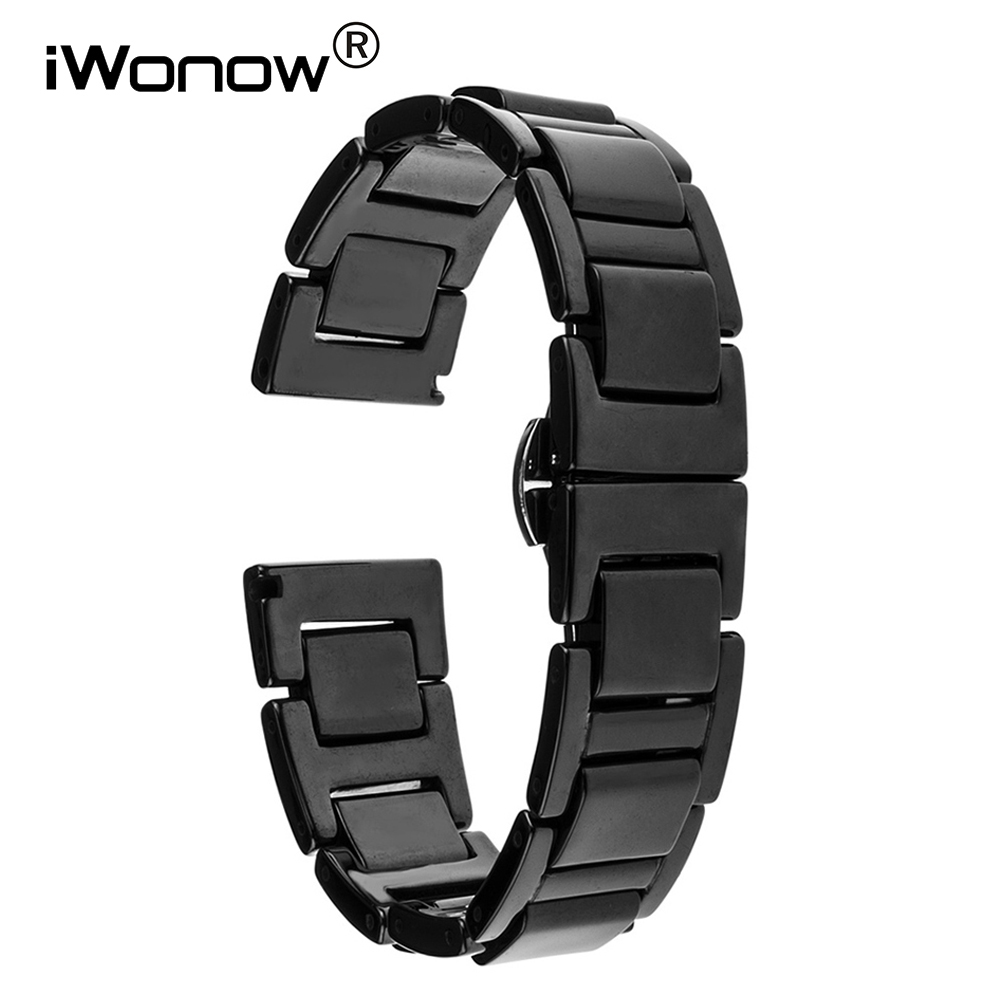 16mm Ceramic Watch Band + Link Remover for Moto 360 2 42mm Women's Huawei Talkband B3 Butterfly Buckle Strap Wrist Belt Bracelet 16mm ceramic watch band for huawei talkband b3 women s butterfly buckle strap wrist belt bracelet black white tool spirng bar