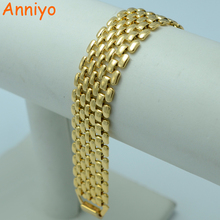 Anniyo 20.5CM,Men Bracelet Gold Color and Copper Jewelry Wholesale Bangle for Women #004802