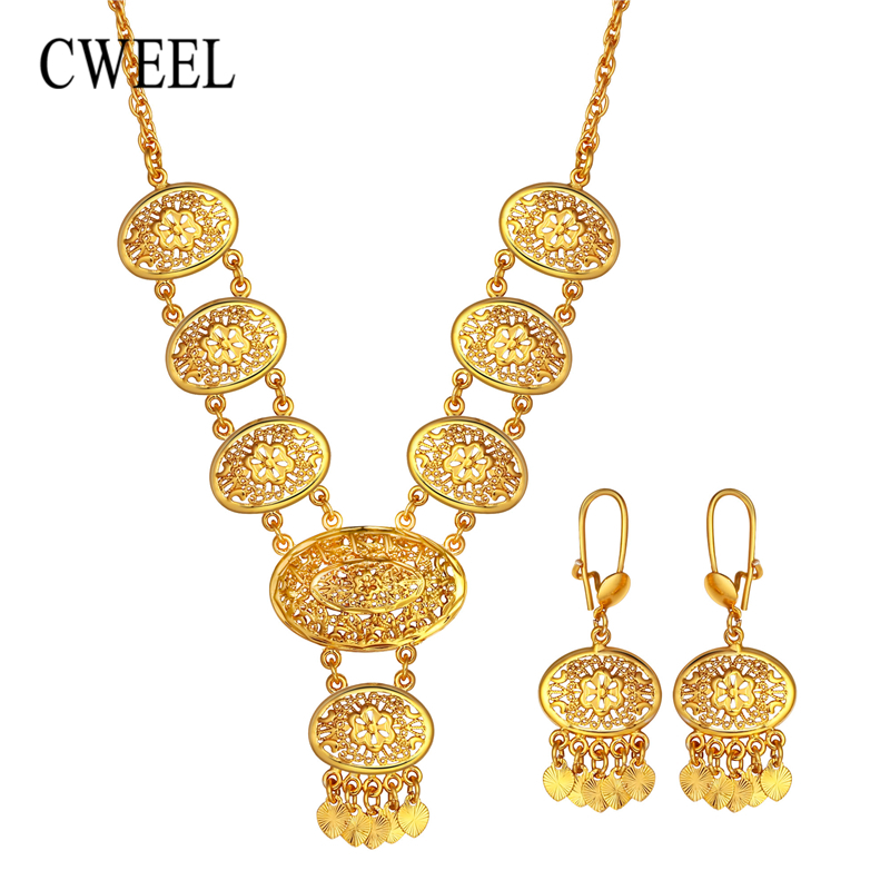 цена на CWEEL Jewelry Sets Nigerian Wedding African Beads Jewelry Set Gold Color Turkish Jewelry For Women Bohemian Jewellery Set