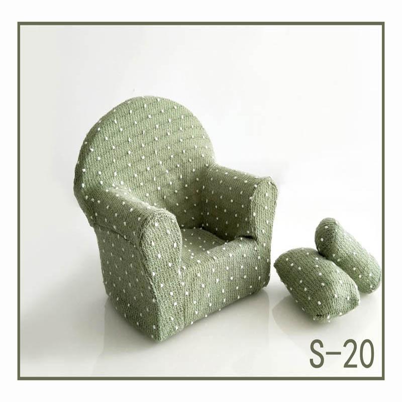 Реквизит для фотосъемки новорожденных, позирующий мини-диван, кресло на руку и 2 подушки, реквизит для фотосессии, студийные аксессуары для детей 0-3 месяцев - Цвет: 5