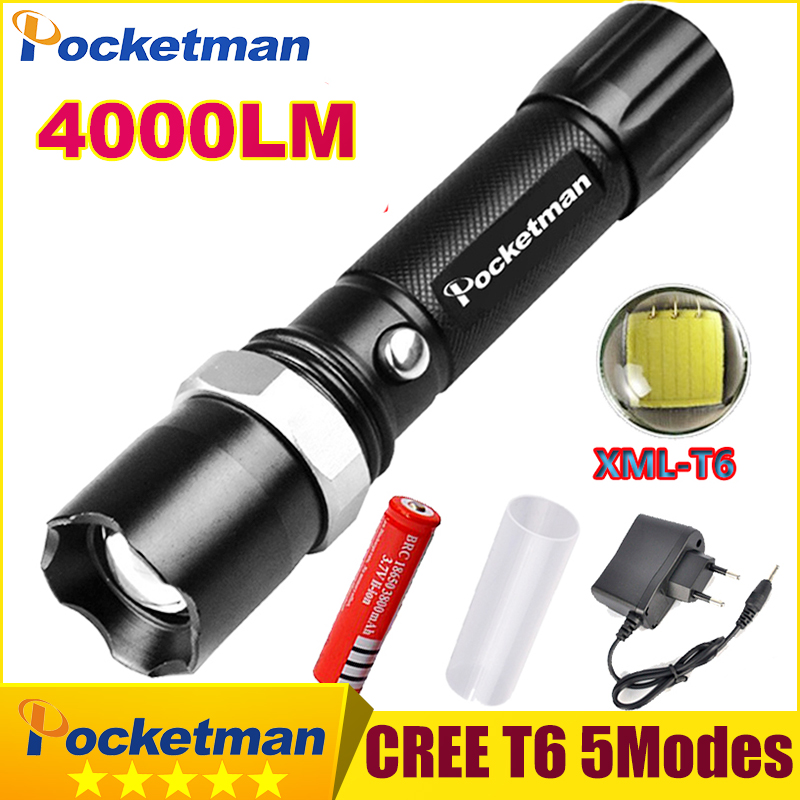 FT17 LED Flashlight XM-L T6 4000LM Aluminum Waterproof Zoomable flashlight Torch 5modes for 18650 Rechargeable Battery or AAA nitecore tm06s palmtop monster waterproof 4000lm 5 modes 4 x xm l2 u3 led light lamp flashlight 18650 torch holster o ring