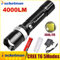 FT17 LED Flashlight XM-L T6 4000LM Aluminum Waterproof Zoomable flashlight Torch 5modes for 18650 Rechargeable Battery or AAA