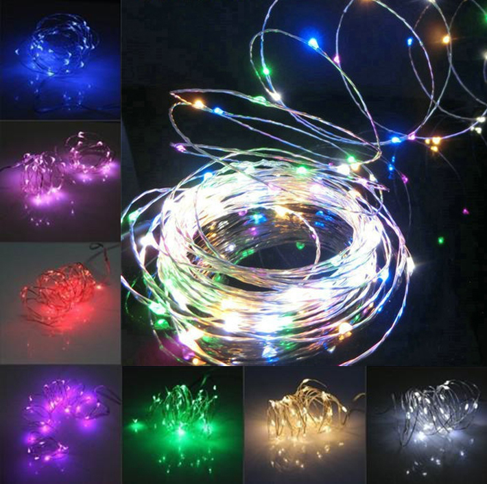 10M 100LED Christmas Fairy Lights Silver Wire LED Starry Lights DC 12V Warm/cool White RGB LED String Light Wedding Decoration
