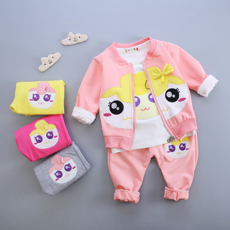 New autumn infant baby girl clothes sets 3pcs cotton cartoon cardigan jacket+long sleeve shirt+pants newborn baby girls suits new autumn sweet girls sets two piece cardigan outwear cape jacket long sleeve dress cotton lace kids girls clothes sets