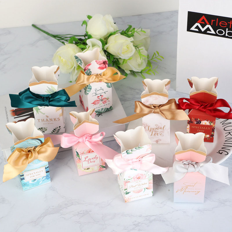 5PC Gift Packaging Box Party Present Flower Boxes Wedding Favor Boxes For Candy Cake Boite Dragees Bonbonniere BabyShower Sweet