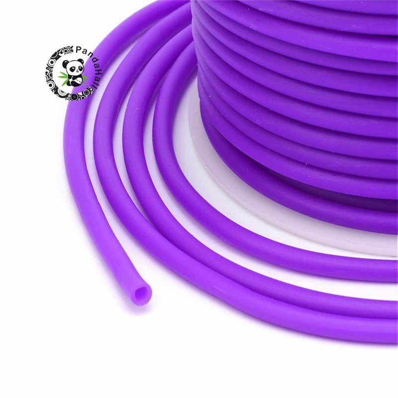 Cable de tubo hueco de caucho de 2mm 3mm 4mm pandahoor con orificio de 1mm/1,5mm/2mm Cable de tubo de goma sólido con bobina de plástico F80