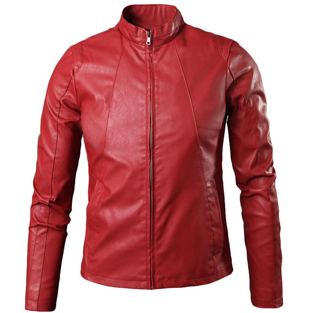 Cool Design Red Pu Leather Jacket Men 2015 New Autumn Winter Jacket Men Casual Brand Mens Slim Windproof Motorcycle Biker Jacket
