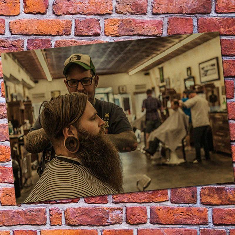 RAHAT MOMENT Yeni Kuaför Saç Şekillendirici Vintage Posterler Kraft Kağıt Berber Dükkanı Saç Stüdyosu Boyama Duvar Dekorasyonu QT446