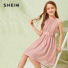 SHEIN Kiddie Solid Appliques Waist Gathered Frill Cute Dress Children 2019 Summer Sleeveless Boho Beach Flared Kids Dresses
