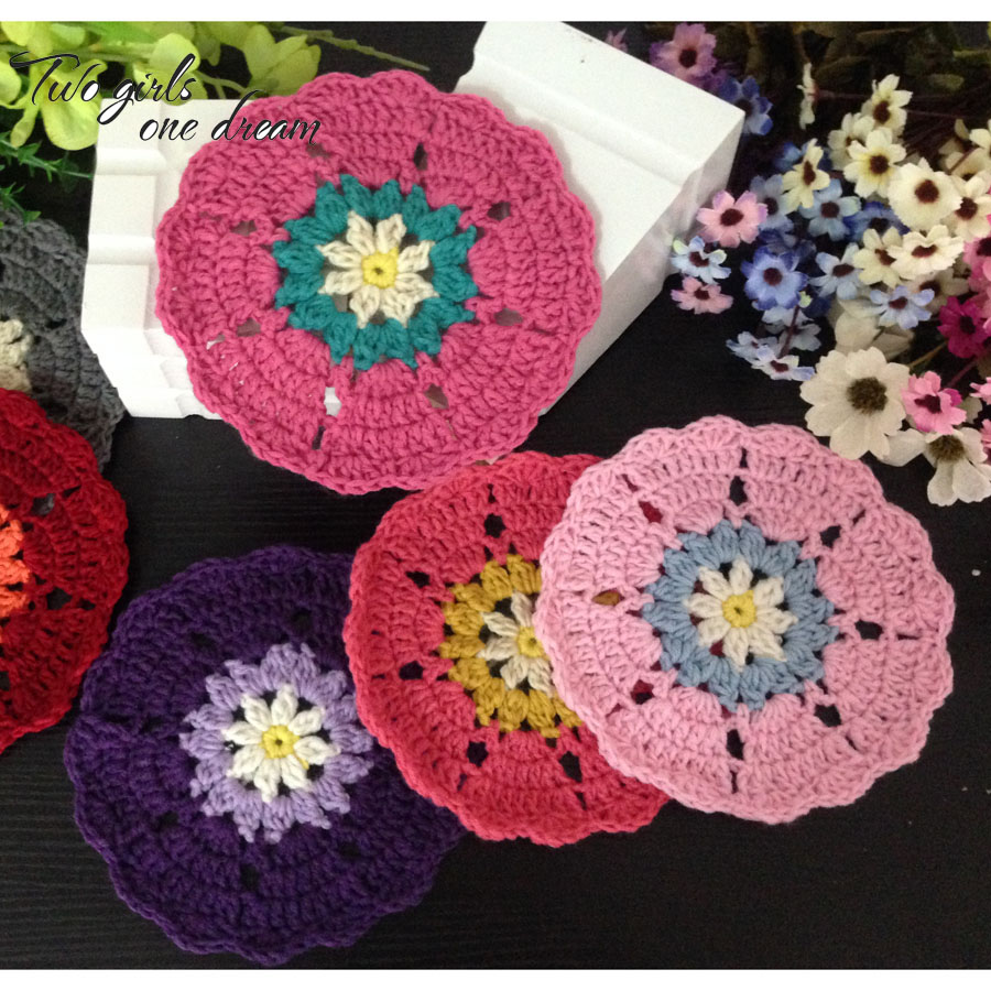 Bar Tools & Accessories Responsible Coaster Crochet Round White Flower Handmade Cup Mat Table Hand Craft Decor Gift