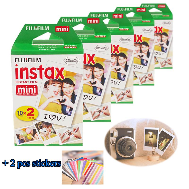 Prix pour Haute qualité 100 Feuilles D'origine Fujifilm Fuji Instax Mini Film Blanc Feuille pour Polaoird mini 7 7 s 8 10 20 25 50 s 50i SP1 dw