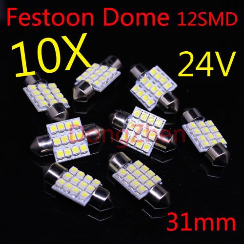 2014 new 10pcs 12SMD 24v LED 31mm White Car Dome Festoon Interior Light Bulbs Auto Car Festoon Licence Plate Dome Roof voennoplennye v shaxterske 31 07 2014