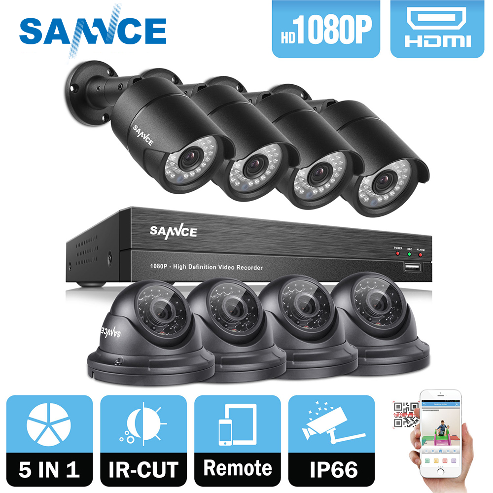 SANNCE 8CH 1080P 2MP CCTV DVR Recorder 4PCS 1080P HD 1920*1080 In/Outdoor Security Bullet Dome Camera System & 1TB HDD Onvif sannce 1920 1080p hd wireless pan