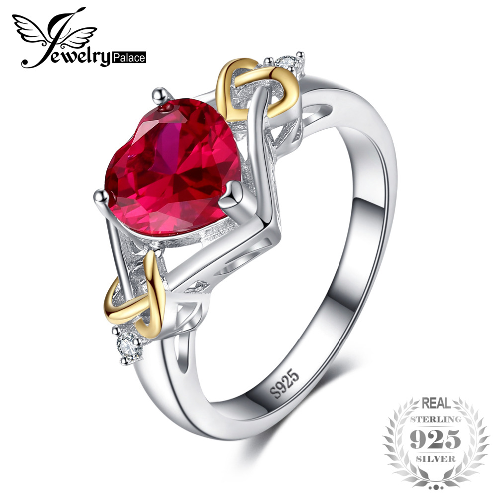 JewelryPalace Love Knot Heart 2.5ct Creado Red Ruby Anniversary Promise Ring 925 plata esterlina 18K oro amarillo Moda mujer