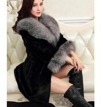 S-5XL-Long Women's Fur Coat Winter Black FAUX FUR Rabbit Outerwear With Fox Collar FAUX FUR Overcoat 2015 Lady Fashion colete