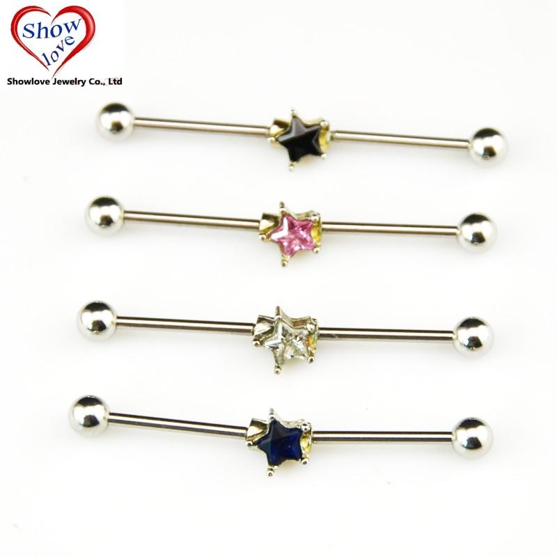 Showlove PAIR Surgical Steel Star Zircon Ear Industrial Barbell Ear Helix Piercing Earrings Jewelry 38mm