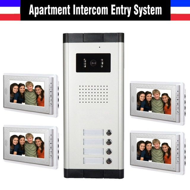 Apartment Intercom System 7 Inch Monitor 4 Unit Apartment Video ...