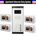 Hot Sale Apartment Intercom System 7 Inch Monitor 4 Apartment Video Door Phone Intercom System Doorbell Doorphones Intercom