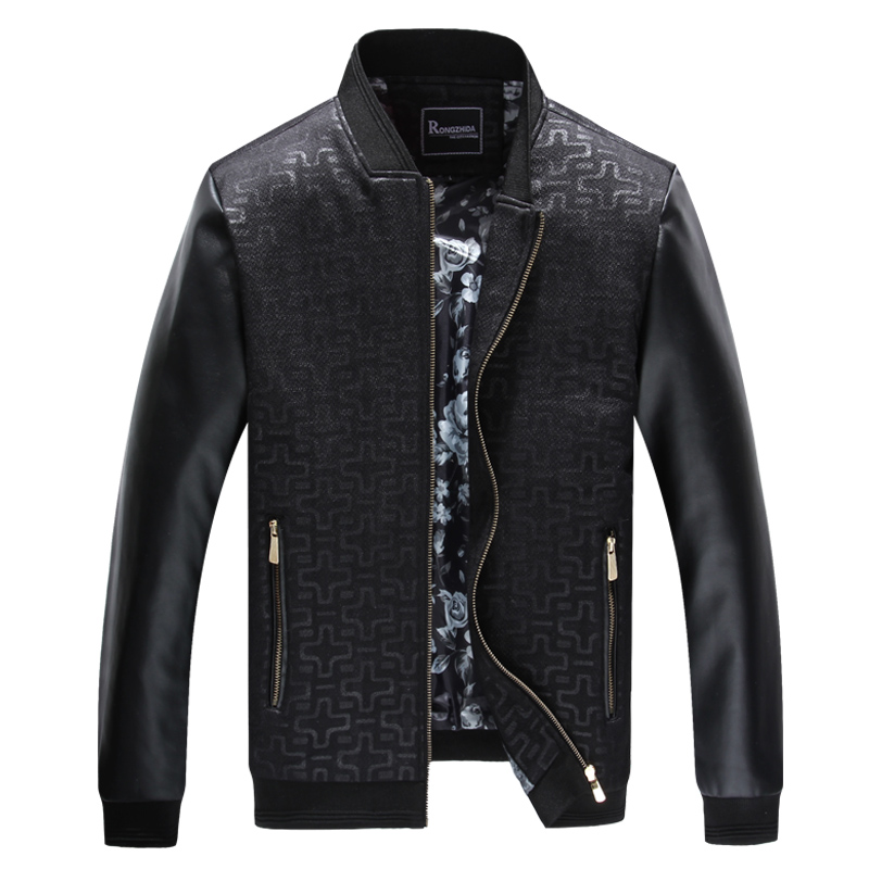 Spring and autumn jacket male Short section fashion casual mens Coat Round neck PU leather stitching Slim mens clothing 6083#