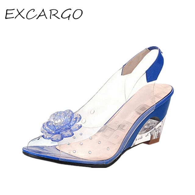 Hot Selling Women Sandals Fashion Transparent Rhinestone Flower Open Toe Wedges Sandals 42 43 Plus Size Women Shoes Clear