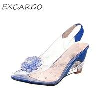 Sıcak Satış Kadın Sandalet Moda Şeffaf Rhinestone Çiçek Burnu açık Takozlar Sandalet 42 43 Artı Boyutu Kadın Ayakkabı Temizle