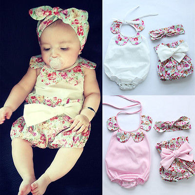 Hot Newborn Infant Baby Girl Floral Romper Bodysuit Shorts Outfits Set Clothes 2016 new coming hot sale summer clothing sets