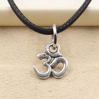 New Fashion Tibetan Silver Pendant yoga OM Necklace Choker Charm Black Leather Cord Factory Price Handmade jewelry