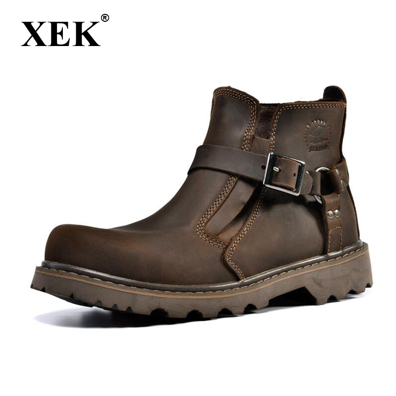 XEK Trend Men's Boots Tooling Boots Military Boots Crazy Horse Leather Men's Casual Tooling Shoes wyq39