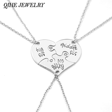 QIHE JEWELRY 3 Piece Heart Personalized big sis middle sis little sis 3 Sister Necklace Family Jewelry Sisters Gift