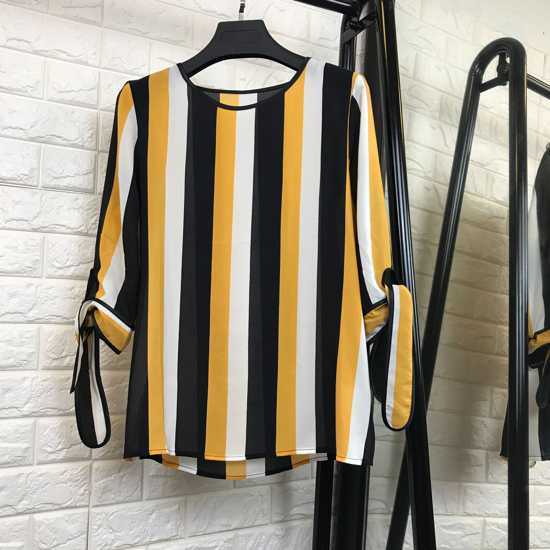 Women fashion cute yellow striped 100% silk tops and blouse bow tie cuff half sleeve top new 2018 summer maison jules new red women s size xs striped shimmer tie back blouse $49 091