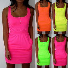 JOYINPARTY l Candy Color Slim Mini Bodycon 2017 Summer Style Women Tropical Boho Clothing Brief 5XL Plus Size Casual Dresses